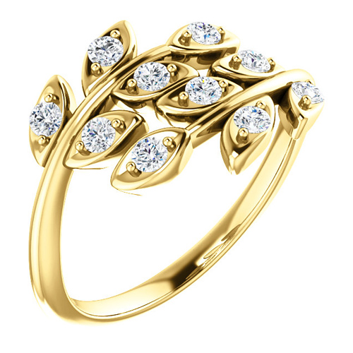 14kt Yellow Gold .30 ct tw Diamond Leaf Ring