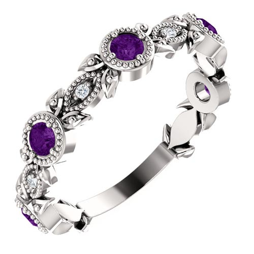 14k White Gold Amethyst and Diamond Leaf Ring