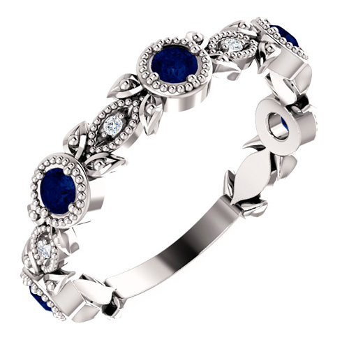 14k White Gold Blue Sapphire and Diamond Leaf Ring