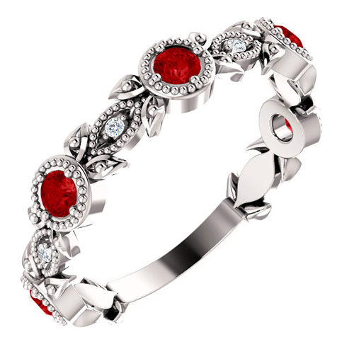 14k White Gold Ruby and Diamond Leaf Ring