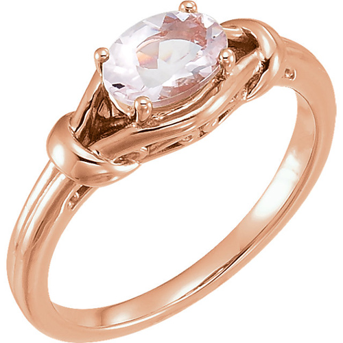 14kt Rose Gold 3/4 ct Oval Morganite Knot Ring