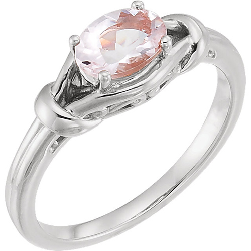 14kt White Gold 3/4 ct Oval Morganite Knot Ring
