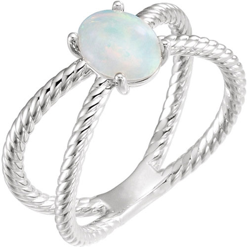 14k White Gold Opal Cabochon Rope Ring