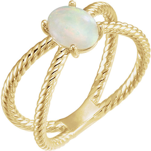 14k Yellow Gold Opal Cabochon Rope Ring