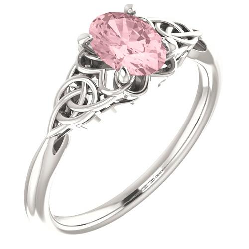 14k White Gold Oval Morganite Celtic Design Ring