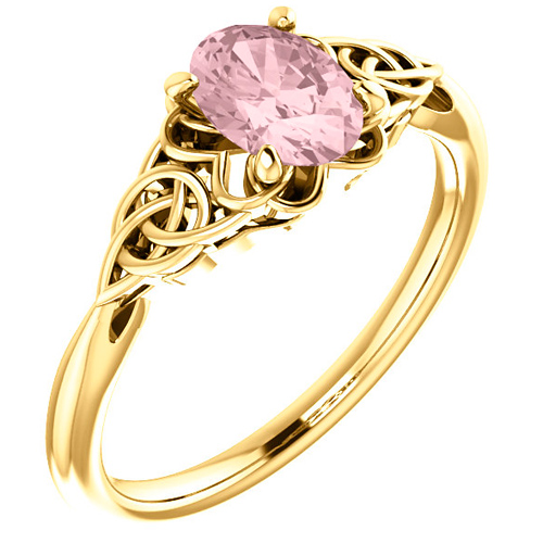 14k Yellow Gold Oval Morganite Celtic Design Ring