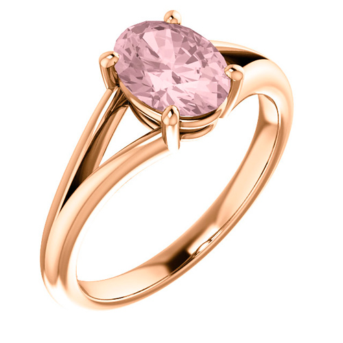 14k Rose Gold 1.2 ct Oval Morganite Solitaire Ring