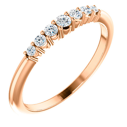 14k Rose Gold 1/5 ct Diamond Stackable Ring