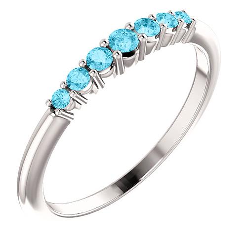 Platinum 1/4 ct Aquamarine Stackable Ring