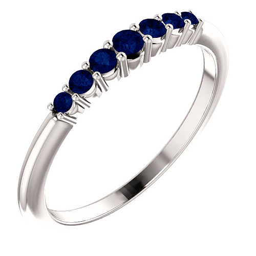 Platinum 1/4 ct Blue Sapphire Stackable Ring