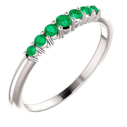 Platinum 1/4 ct Emerald Stackable Ring