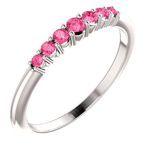 Platinum 1/4 ct Pink Tourmaline Stackable Ring
