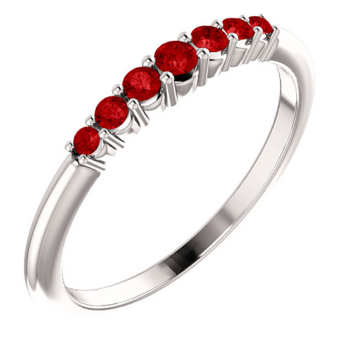 Platinum 1/3 ct Ruby Stackable Ring