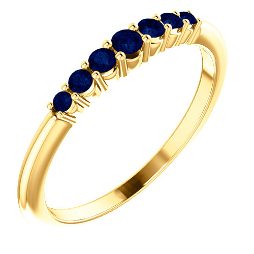 14k Yellow Gold 1/4 ct Blue Sapphire Stackable Ring