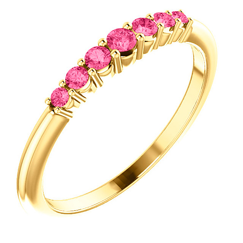 14k Yellow Gold 1/4 ct Pink Tourmaline Stackable Ring