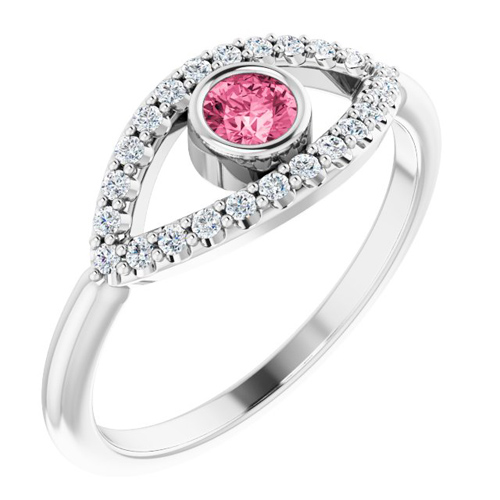 14k White Gold Pink Tourmaline and White Sapphire Evil Eye Ring