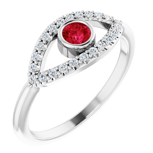 14k White Gold Ruby and White Sapphire Evil Eye Ring