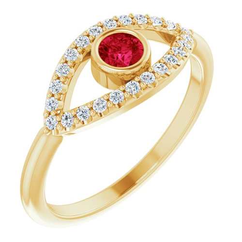 14k Yellow Gold Ruby and White Sapphire Evil Eye Ring