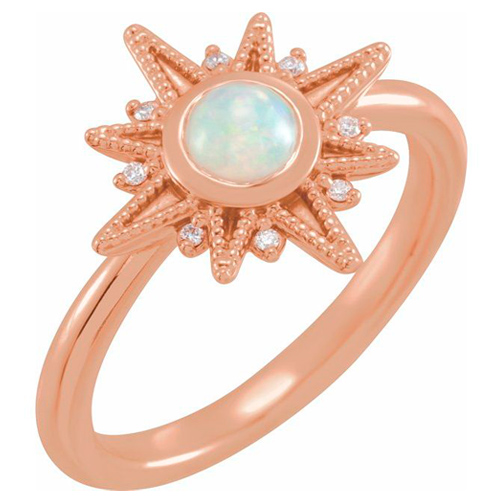 14K Rose Gold 1/4 ct Opal and Diamond Celestial Ring