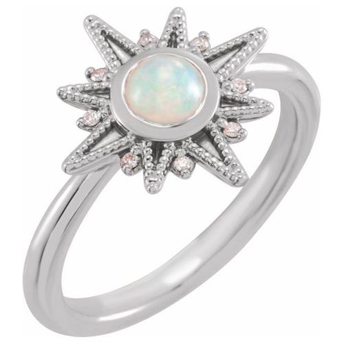 14K White Gold 1/4 ct Opal and Diamond Celestial Ring