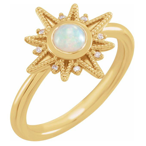 14K Yellow Gold 1/4 ct Opal and Diamond Celestial Ring