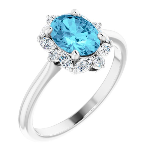 14k White Gold 1.15 ct Oval Aquamarine Halo Ring with 1/3 ct Diamonds