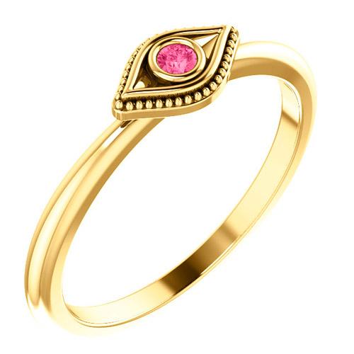 14k Yellow Gold Stackable Pink Tourmaline Evil Eye Ring