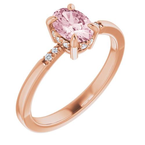 14k Rose Gold 3/4 ct Morganite Ring with French-Set Diamonds