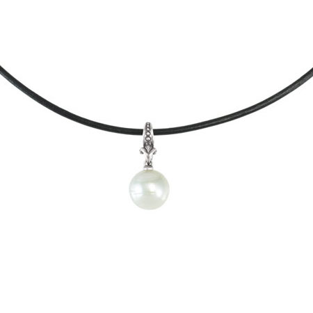 12mm South Sea Pearl Leather Necklace with Patina Finish