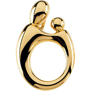 14kt Yellow Gold 3/4in Mother and Child Hollow Back Pendant