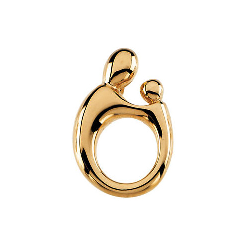 14kt Yellow Gold 3/4in Mother and Child Pendant