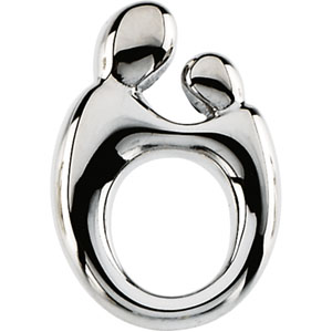 14kt White Gold 14.5mm Mother and Child Pendant