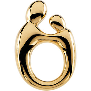 14kt Yellow Gold 14.5mm Mother and Child Pendant