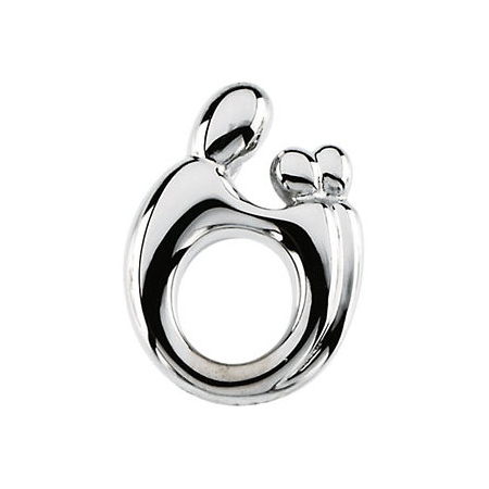 14kt White Gold 19.75mm Mother & Twins Pendant