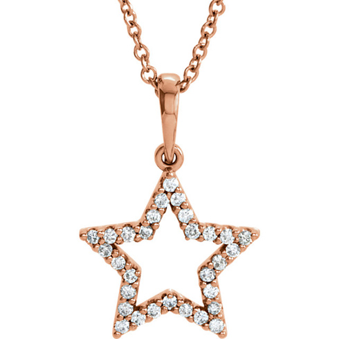 14kt Rose Gold 1/6 ct Diamond Petite Star 16in Necklace