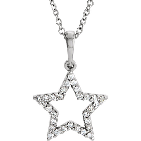 14kt White Gold 1/6 ct Diamond Petite Star 16in Necklace