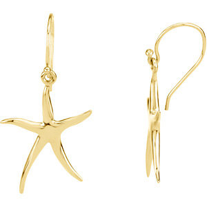 14kt Yellow Gold 1in Skinny Starfish Earrings