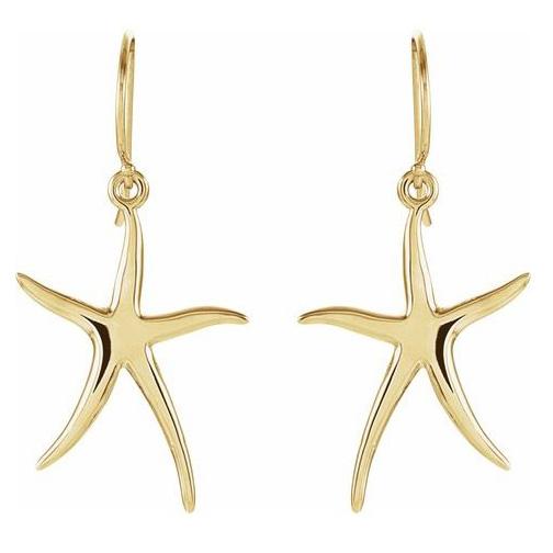 14kt Yellow Gold 1in Skinny Starfish Earrings