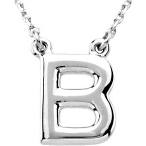 Sterling Silver Block Initial B 16in Necklace