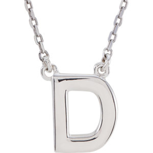 Sterling Silver Block Initial D 16in Necklace