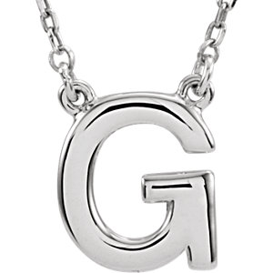 Sterling Silver Block Initial G 16in Necklace