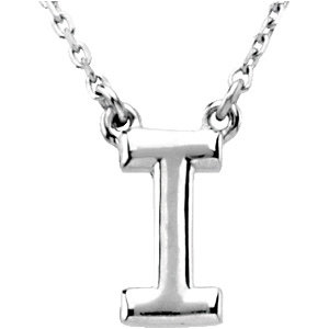 Sterling Silver Block Initial I 16in Necklace