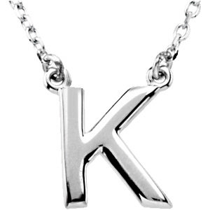 Sterling Silver Block Initial K 16in Necklace