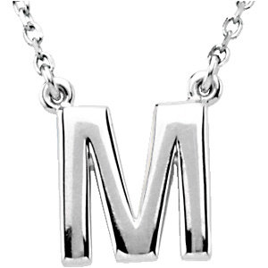 Sterling Silver Block Initial M 16in Necklace