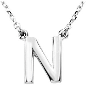 Sterling Silver Block Initial N 16in Necklace