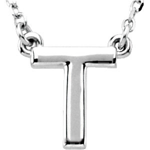 Sterling Silver Block Initial T 16in Necklace