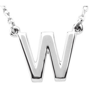 Sterling Silver Block Initial W 16in Necklace