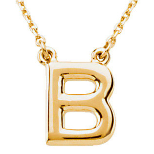 14k Yellow Gold Letter B Initial Necklace 16in