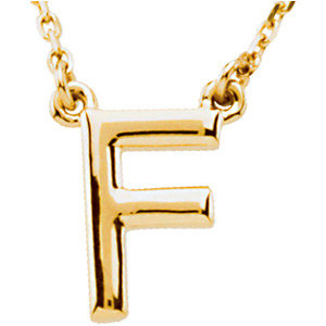 14k Yellow Gold Letter F Initial Necklace 16in