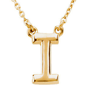 14k Yellow Gold Letter I Initial Necklace 16in